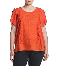 Democracy Plus Size Die Cut Cold Shoulder Knit Top