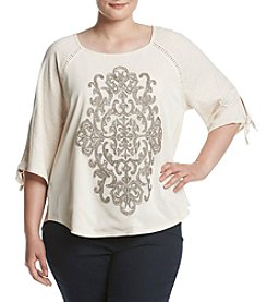 Democracy Plus Size Tie Sleeve Embroidered Top