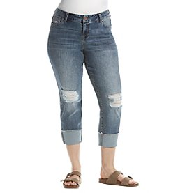 Celebrity Pink Plus Size Brody Wide Cuff Destructed Ankle Jeans