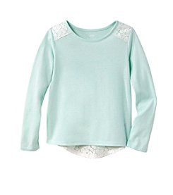 Mix & Match Girls' 4-7 Long Sleeve Solid Lace Tee