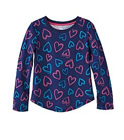Mix & Match Girls' 4-7 Long Sleeve Heart Print Tee