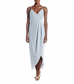 Xscape Midi Crepe Wrap Slip Dress