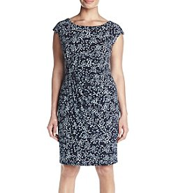 Connected® Plus Size Printed Ruched Sheath Dress