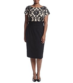Adrianna Papell® Plus Size Lace Top Embellishment Sheath Dress