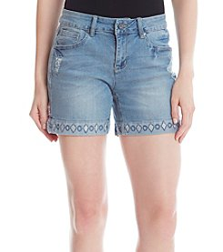 Earl Jean® Frey Hem Embroidered Shorts