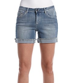 Earl Jean® Fray Hem White Stitch Shorts