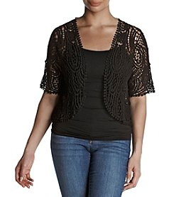 Rafaella® Plus Size Crochet Shrug Cardigan