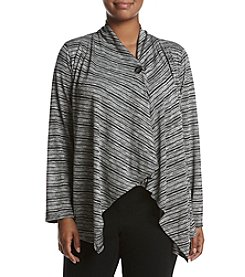 AGB® Plus Size Striped Button Sweater
