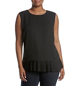 Calvin Klein Plus Size Woven Pleated Back Top