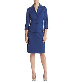 LeSuit® Textured Three-Button Skirt Suit