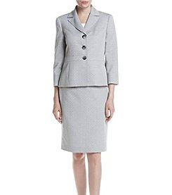 LeSuit® Tweed Three-Button Skirt Suit