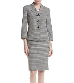LeSuit® Three-Button Gingham Skirt Suit