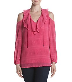 Jones New York® Pleated Cold Shoulder Blouse