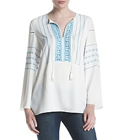 Jones New York® Embroidered Peasant Top