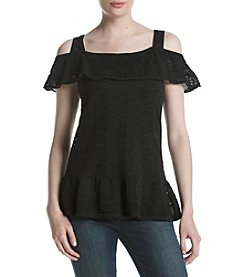 Jeanne Pierre® Flutter Sleeve Cold Shoulder Sweater