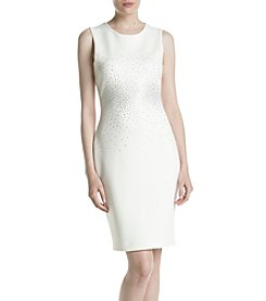 Calvin Klein Cream Jewel Front Scuba Dress