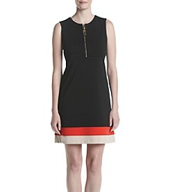 Calvin Klein Zip Front Striped Dress