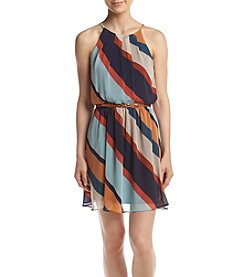 A. Byer Stripe Belted Tank Dress