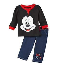 Nannette® Baby Boys' 2 Piece Mickey Denim Pants Set