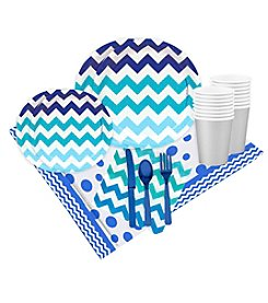 Chevron True Blue 16 Guest Party Pack