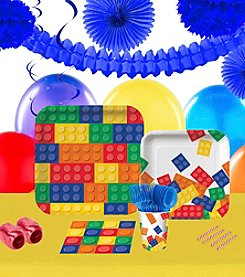 Building Block Party 16 Guest Party Pack with Decoration Kit