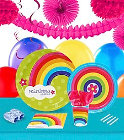 Rainbow Wishes 16 Guest Party Pack with Decoration Kit