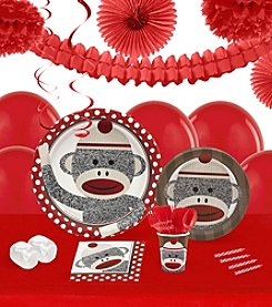 Sock Monkey Red 16 Guest Party Pack with Decoration Kit
