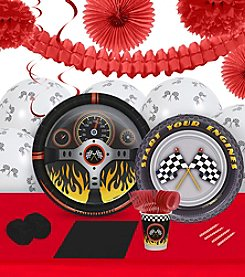 Racecar Racing Party 16 Guest Party Pack with Decoration Kit