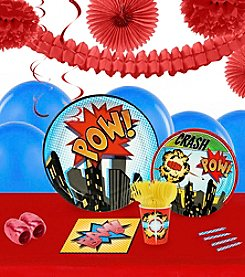 Superhero Comics Party 16 Guest Party Pack with Decoration Kit