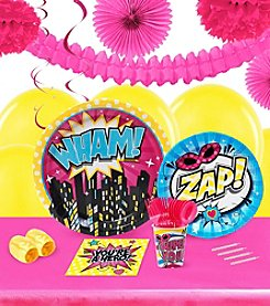 Superhero Girl Party 16 Guest Party Pack with Decoration Kit