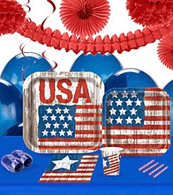 Vintage Patriotic Flag 16 Guest Party Pack with Decoration Kit