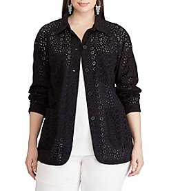 Chaps® Plus Size Eyelet Lace Shirt Jacket