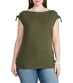 Chaps® Plus Size Lace-Up Cotton T-Shirt