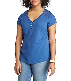 Chaps® Plus Size Lace-Yoke Henley
