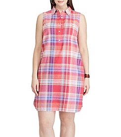 Chaps® Plus Size Plaid Linen-Cotton Shirt Dress