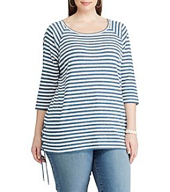Chaps® Plus Size Striped Lace-Up Pullover