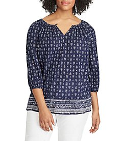 Chaps® Plus Size Printed Cotton Peasant Top