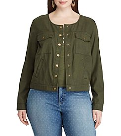 Chaps® Plus Size Cropped Twill Jacket