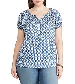 Chaps® Plus Size Geo-Print Cotton Henley Tee