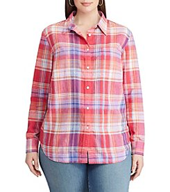 Chaps® Plus Size Plaid Linen-Cotton Shirt