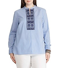 Chaps® Plus Size Embroidered Striped Tunic