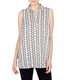 Joan Vass® Diamond Grid Split Neck Blouse