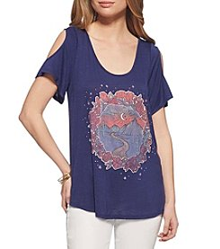 Jessica Simpson Stars Cold-Shoulder Tee