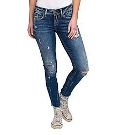 Silver Jeans Co. Suki Destructed Fray Cuff Skinny Ankle Jeans