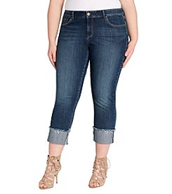 Jessica Simpson Plus Size Rolled Crop Straight Jeans