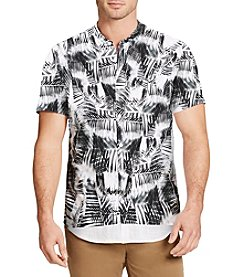 William Rast® Men's Short Sleeve Banded Collar Button Down Shirt