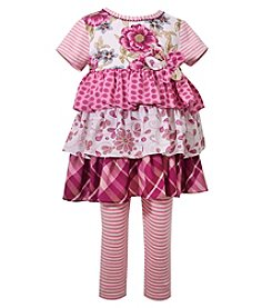 Bonnie Jean® Girls' 2T-4T Short Sleeve Tiered Dress With Striped Leggings