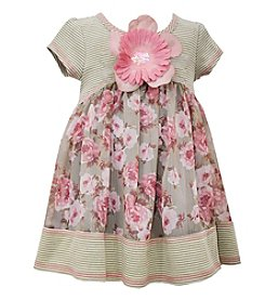 Bonnie Jean® Girls' 2T-4T Short Sleeve Striped Floral Dress