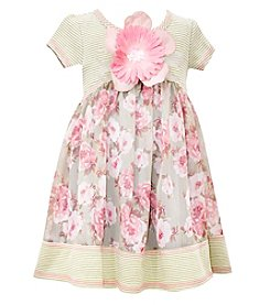 Bonnie Jean® Girls' 4-6X Short Sleeve Striped Floral Dress