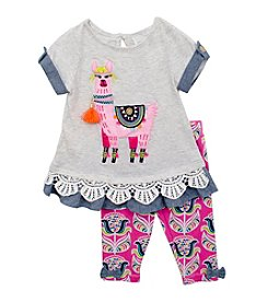 Rare Editions® Baby Girls' Llama Denim Top And Pants Set